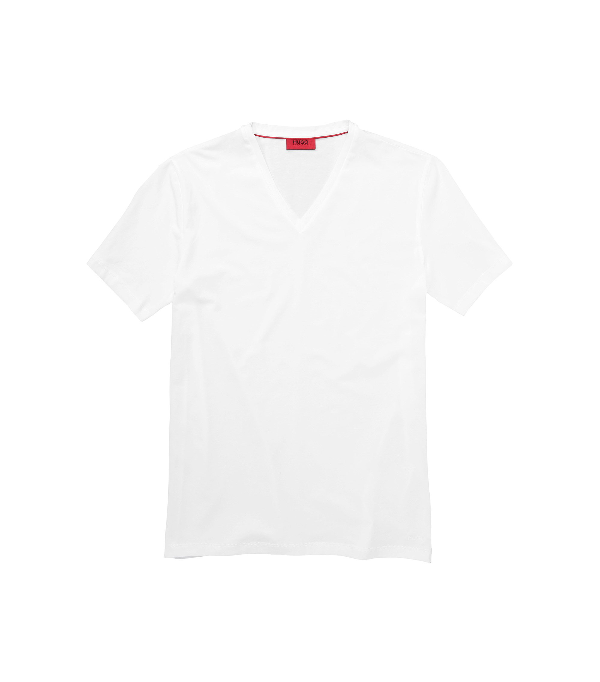 Stretch Cotton V-Neck T-Shirt | Dredosos, White