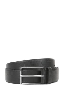 'Carmello S' | Leather Printed Belt, Black