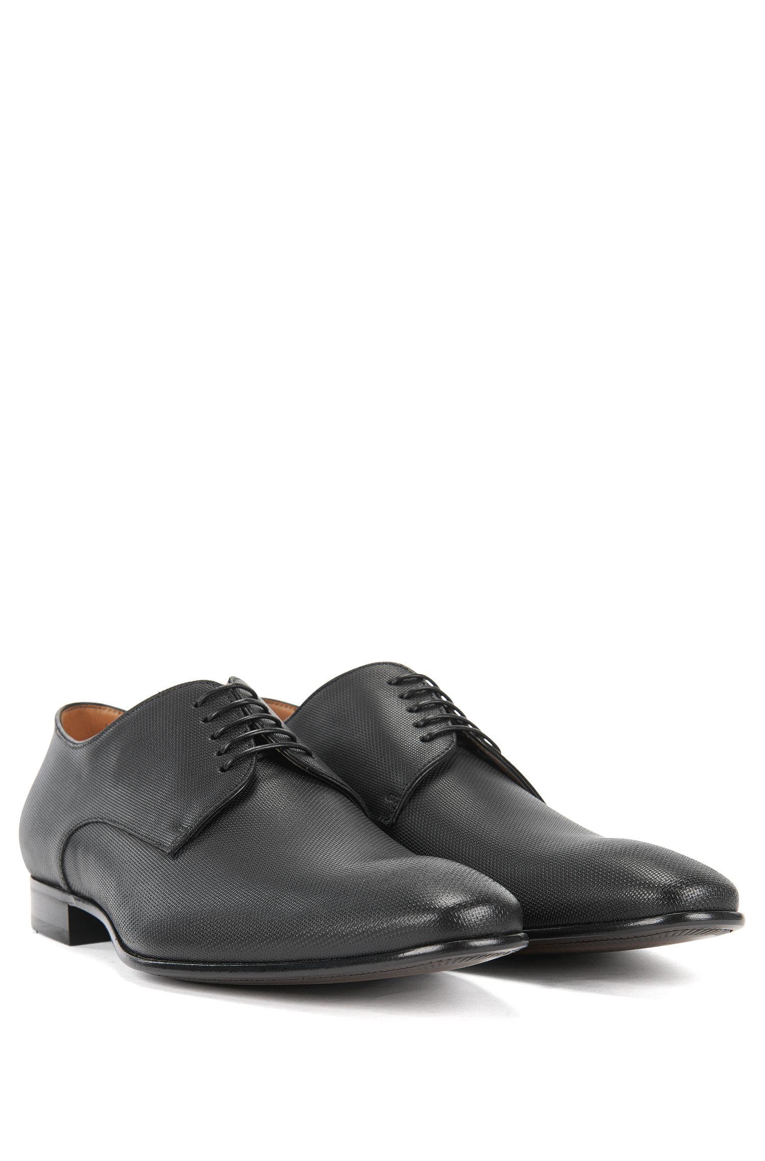 BOSS Hugo Boss Italian Leather Derby Dress Shoe Prindo 11.5 Black
