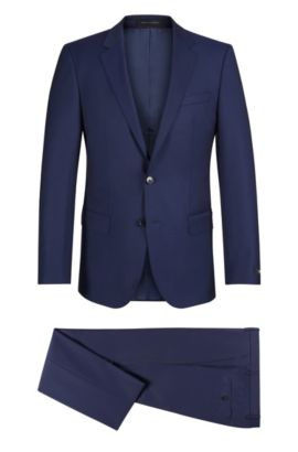 Italian Super 110 Virgin Wool Suit, Slim Fit | Huge/Genius, Dark Blue