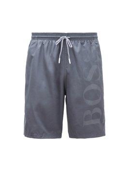 Swim shorts in brushed technical fabric, Dark Grey
