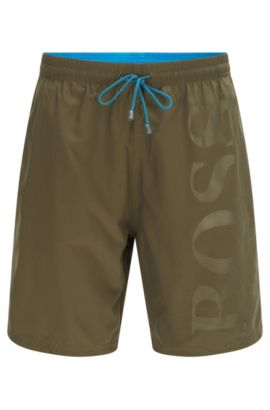 'Orca' | BOSS Logo Swim Trunks, Dark Green