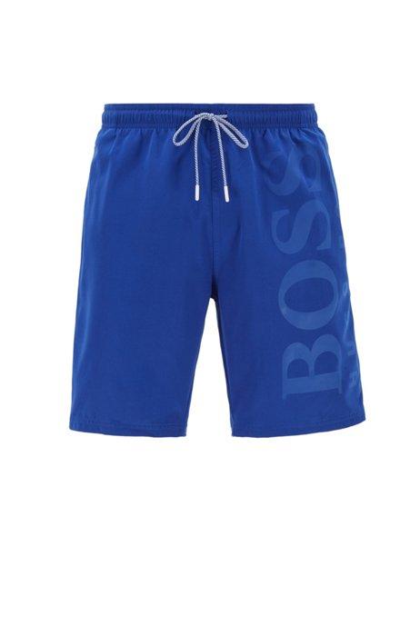 Short de bain en tissu technique brossé, Bleu