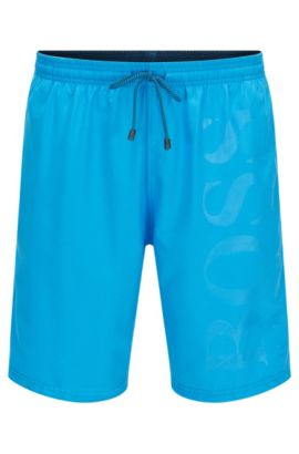 'Orca' | BOSS Logo Swim Trunks, Light Blue