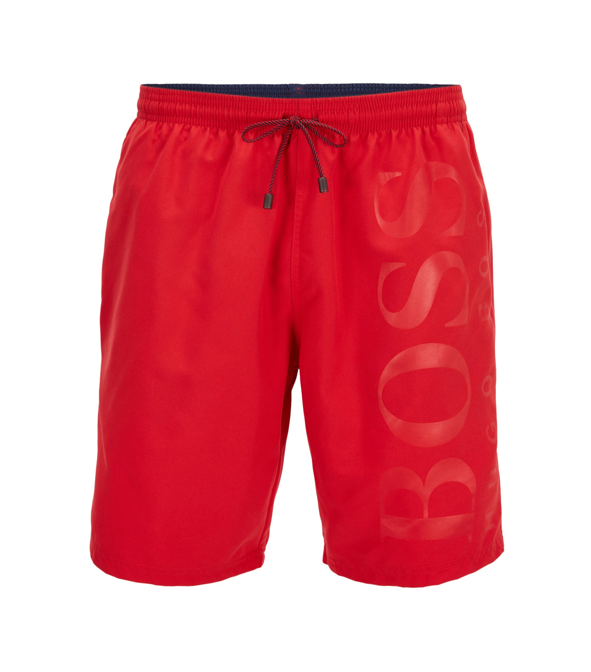 Swim shorts in brushed technical fabric, Red