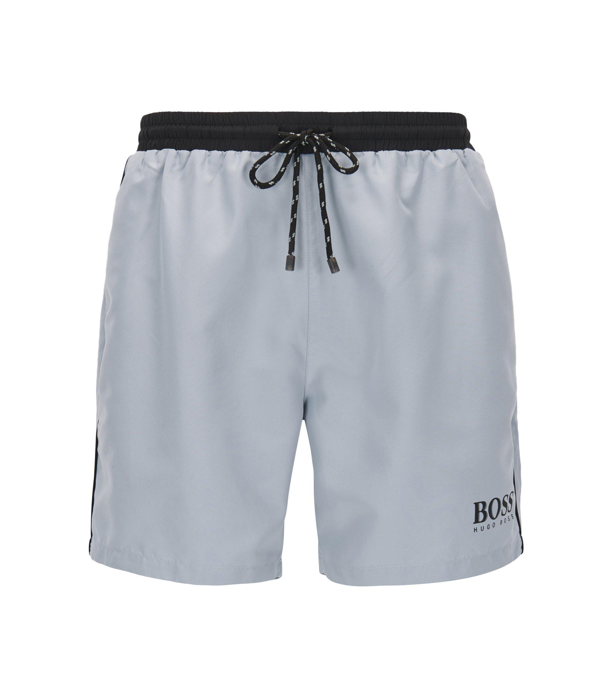 Swim shorts in technical fabric, Silver