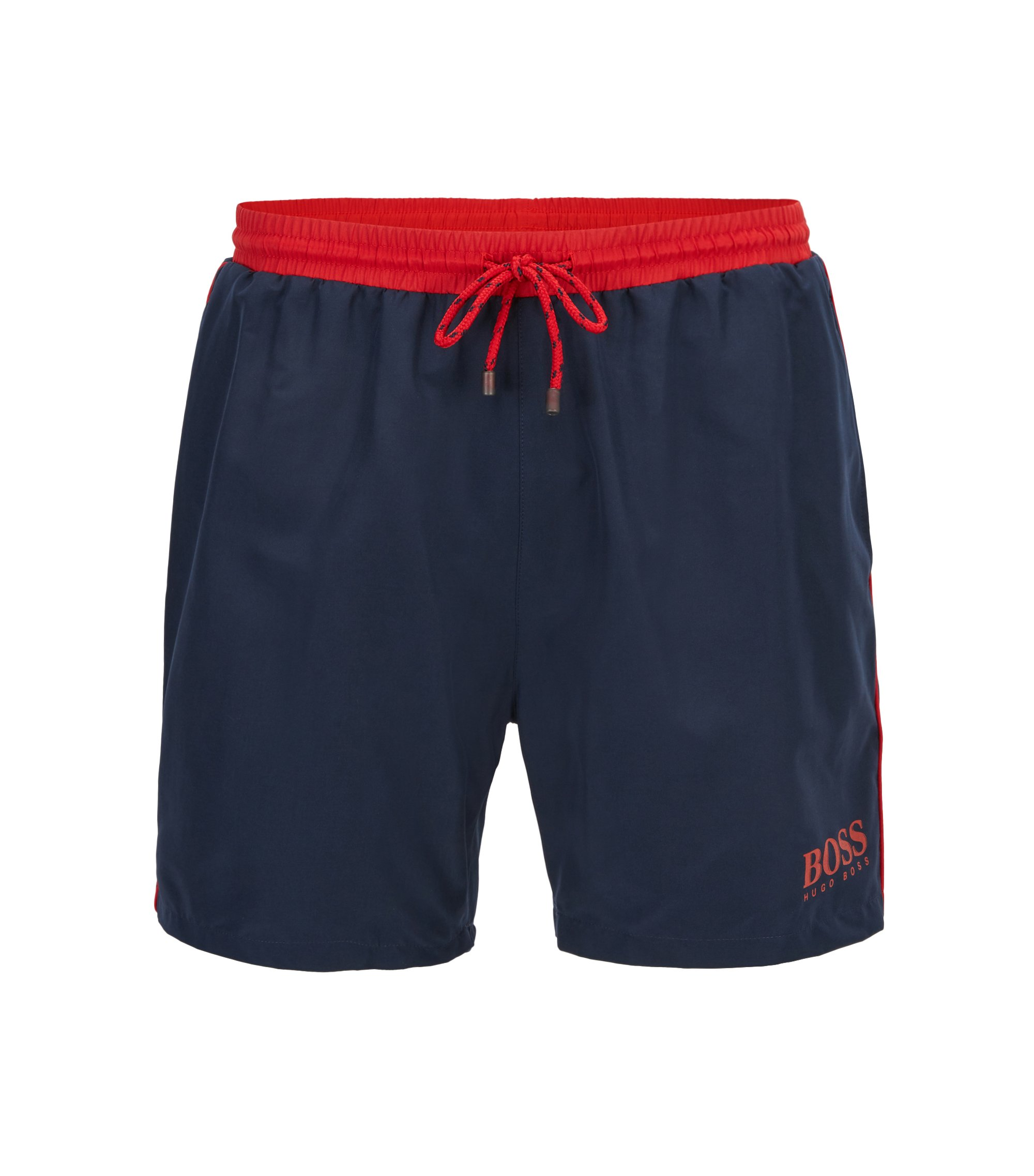 Swim shorts in technical fabric, Dark Blue
