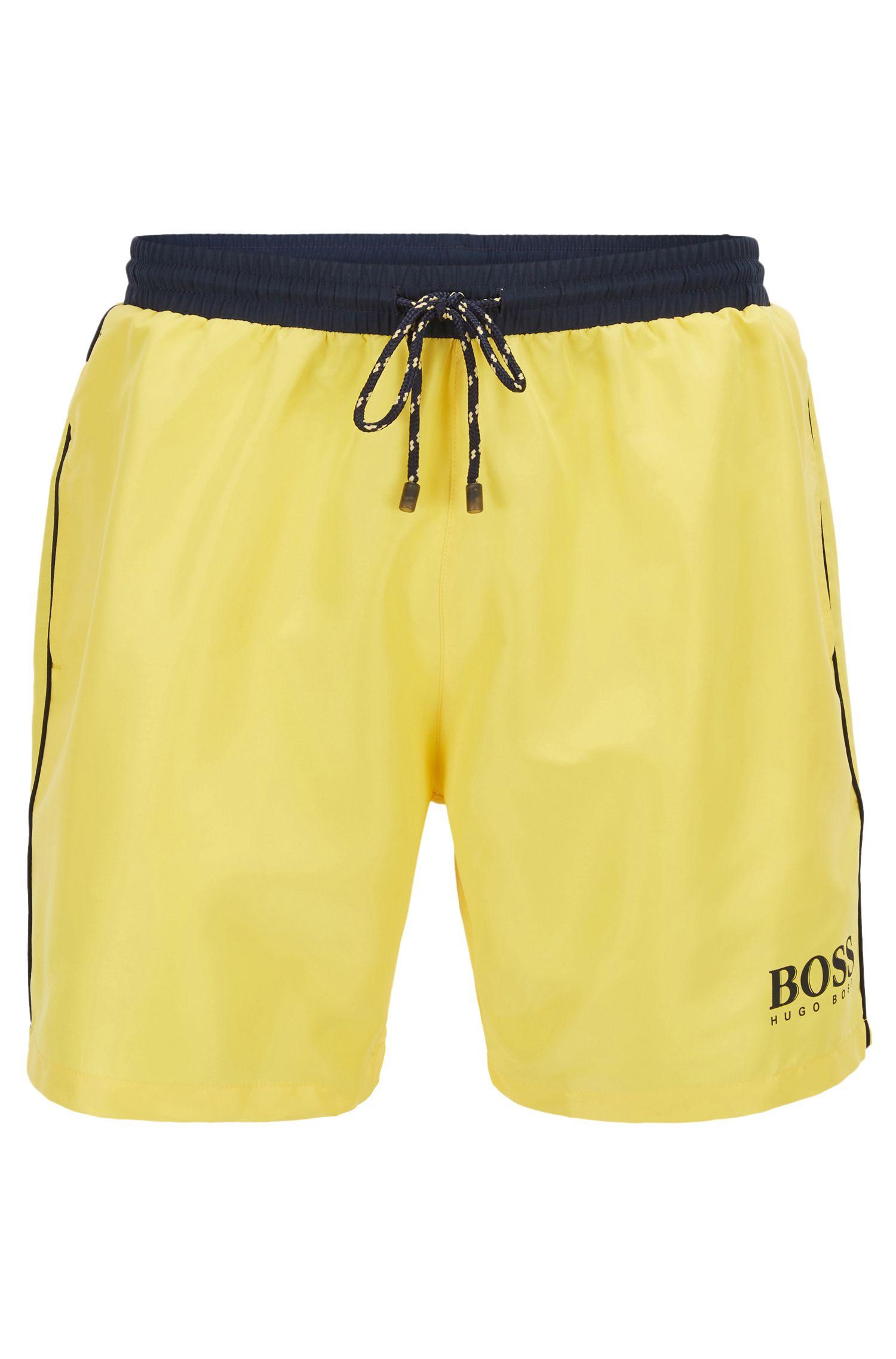 Swim shorts in technical fabric, Yellow