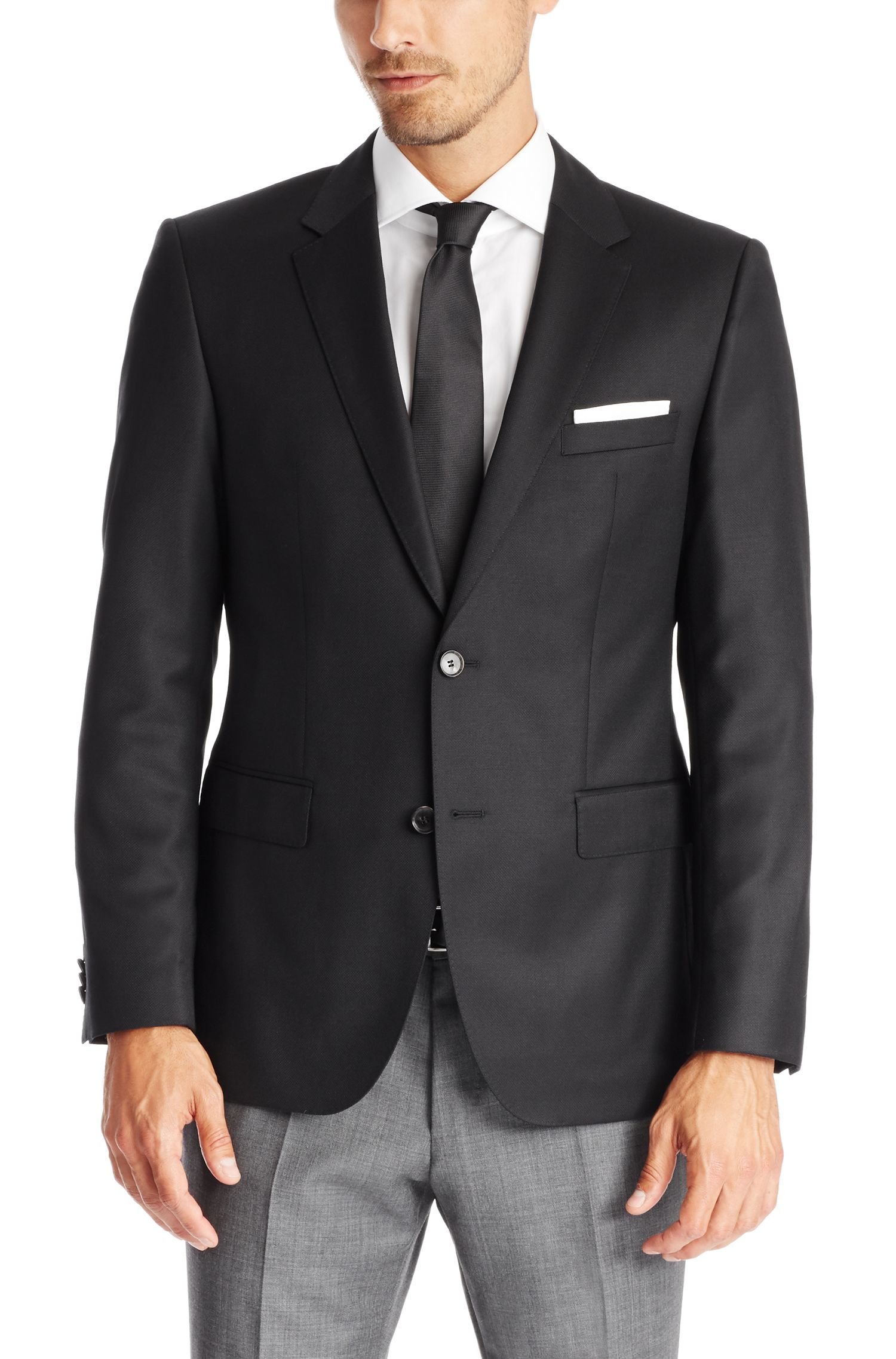 Virgin Wool Sport Coat, Regular Fit | The James, Black