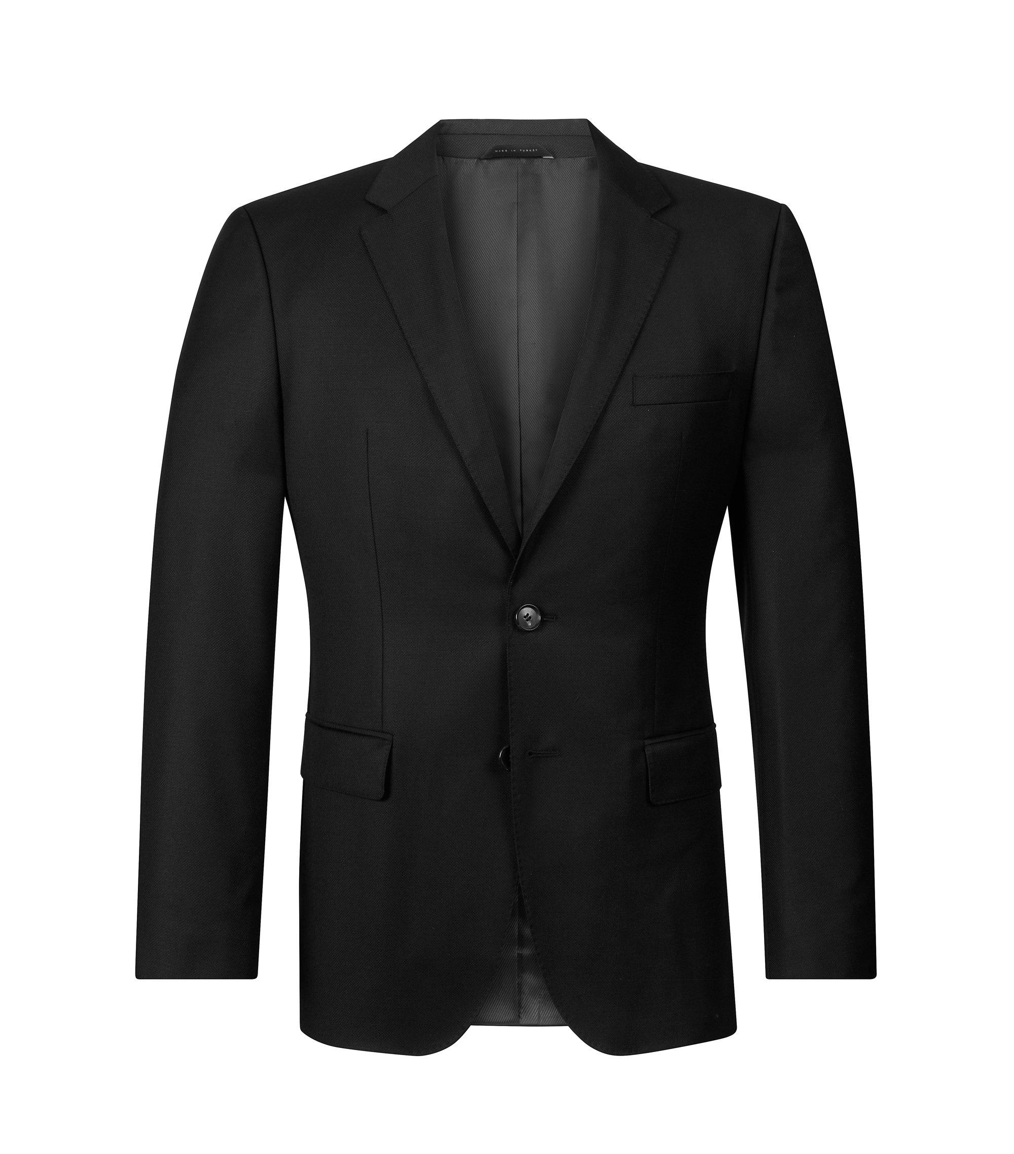 Virgin Wool Sport Coat, Regular Fit   The James, Black