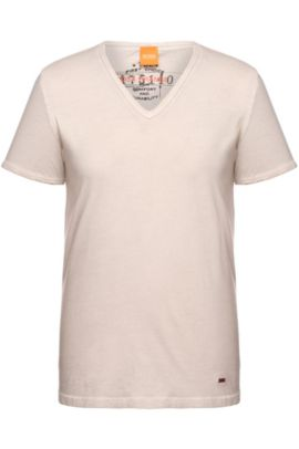 Cotton V-Neck T-Shirt | Toulouse, Open Grey