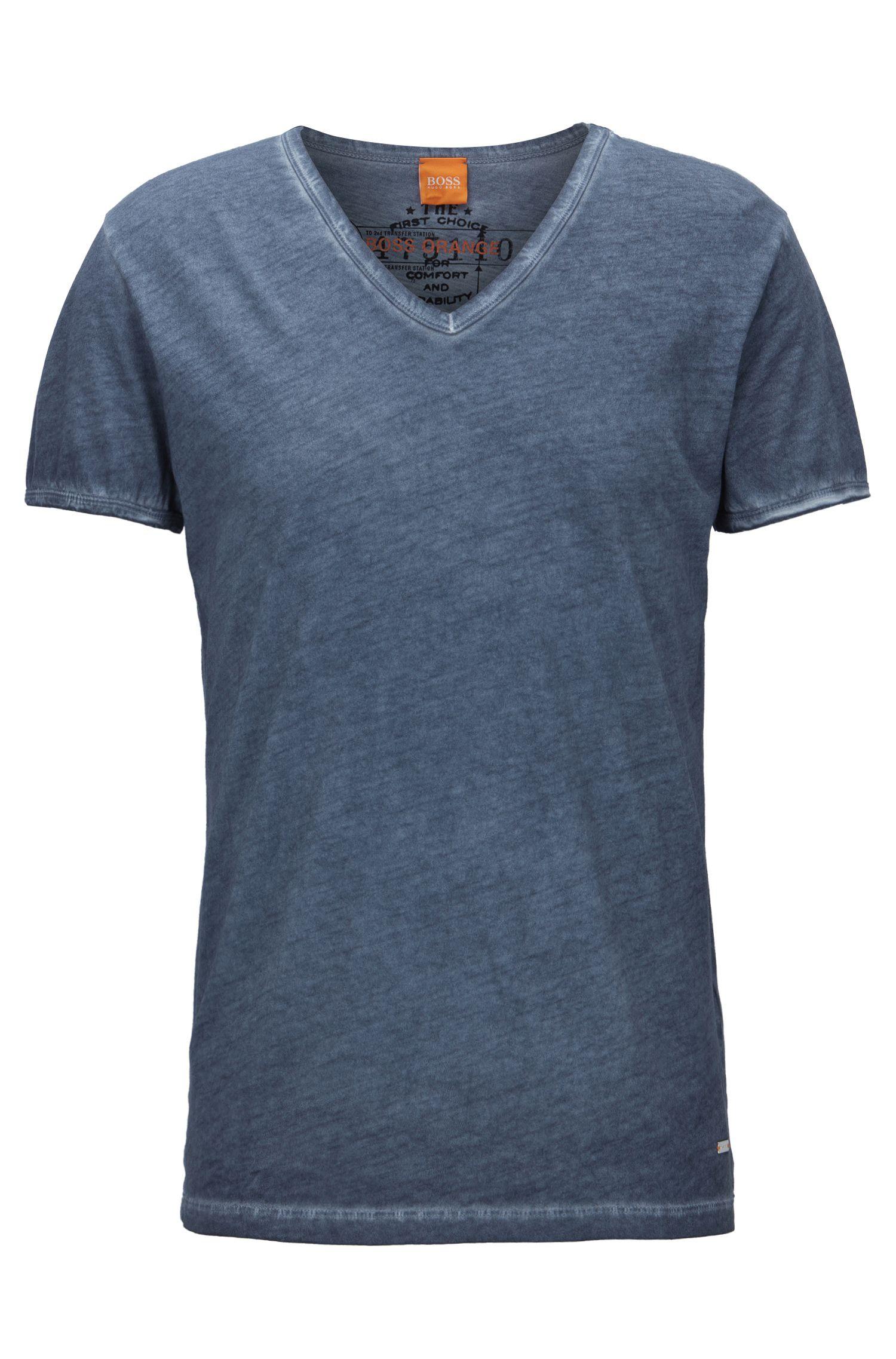Cotton V-Neck T-Shirt | Toulouse, Dark Blue