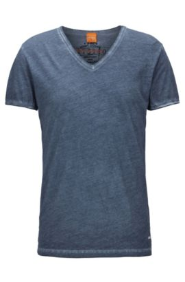 Cotton V-Neck T-Shirt | Toulouse, Dark Blue