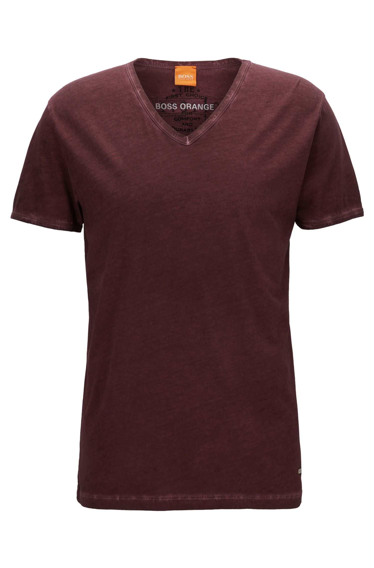 Cotton V-Neck T-Shirt | Toulouse, Open Red