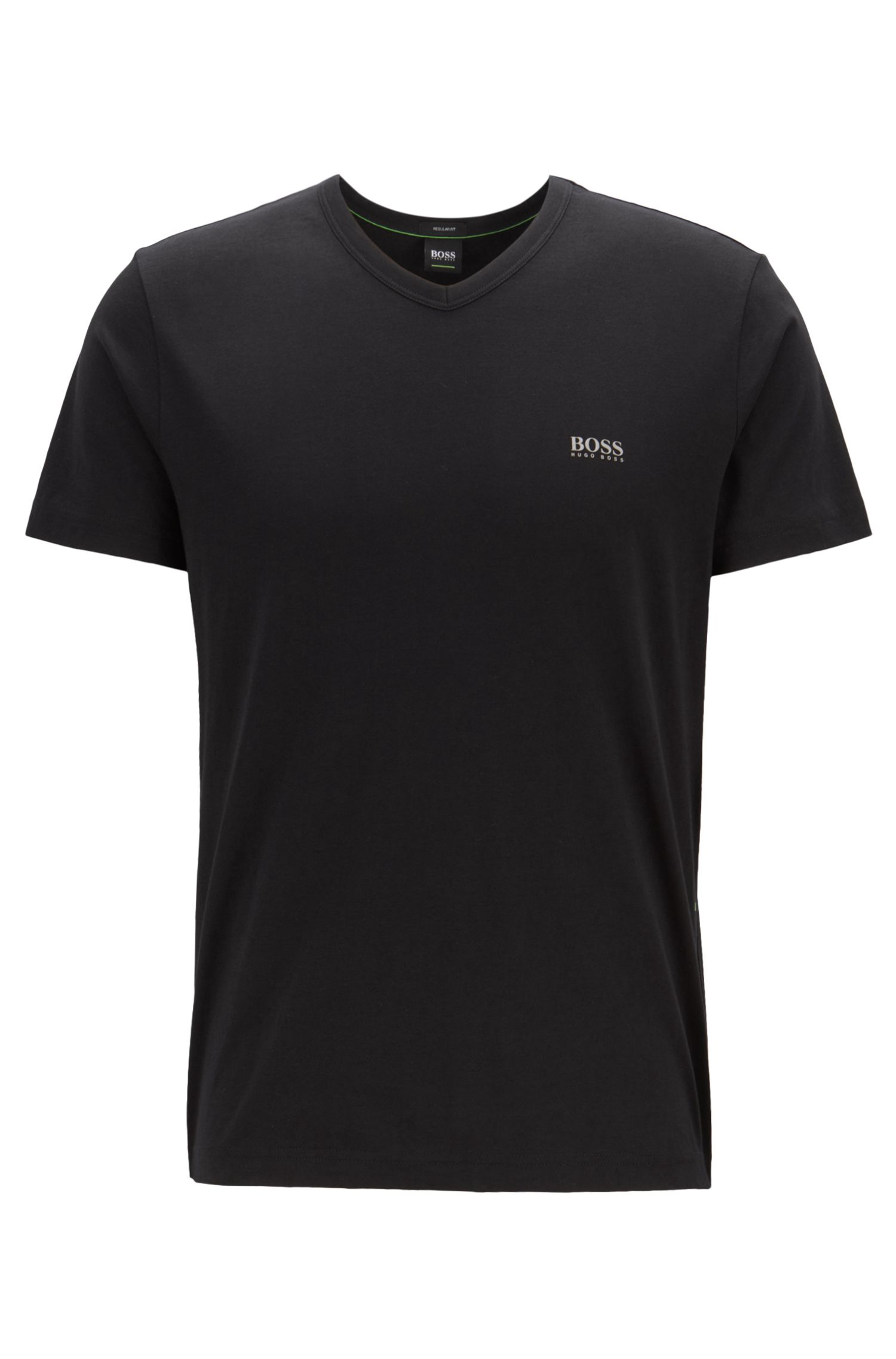 Regular-fit V-neck T-shirt in soft cotton, Black