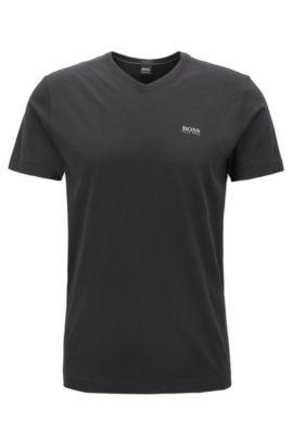 Cotton V-Neck T-Shirt | Teevn, Black