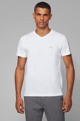 Regular-fit V-neck T-shirt in soft cotton, White