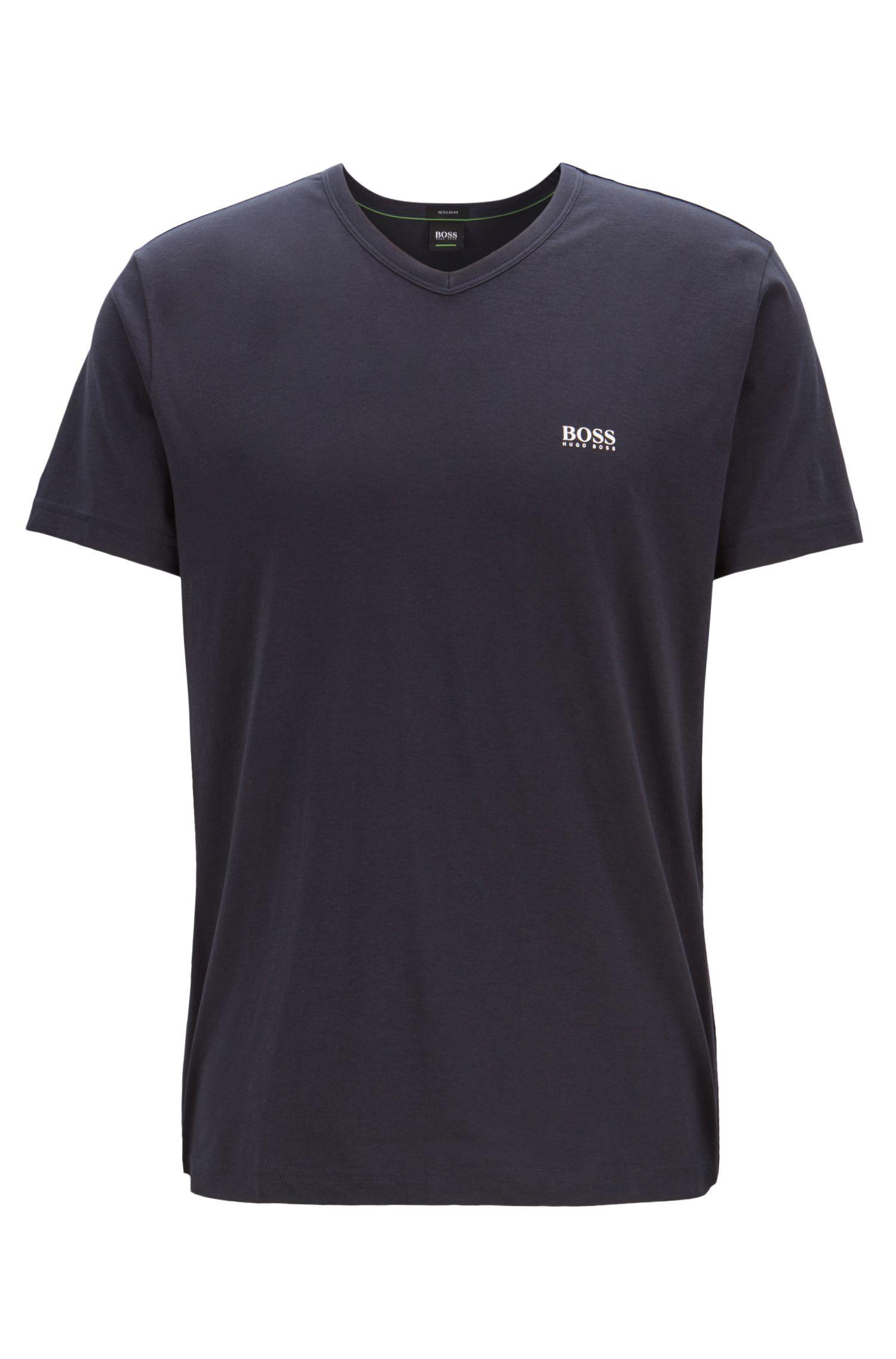 Regular-fit V-neck T-shirt in soft cotton, Dark Blue