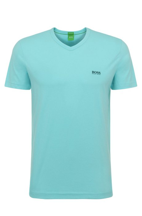 Regular-fit V-neck T-shirt in soft cotton, Open Blue