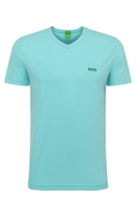 Cotton V-Neck T-Shirt | Teevn, Open Blue