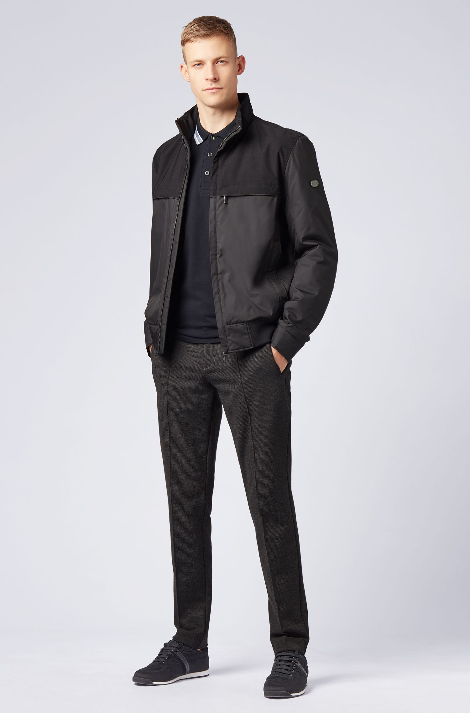 Regular-fit polo in piqué cotton, Black