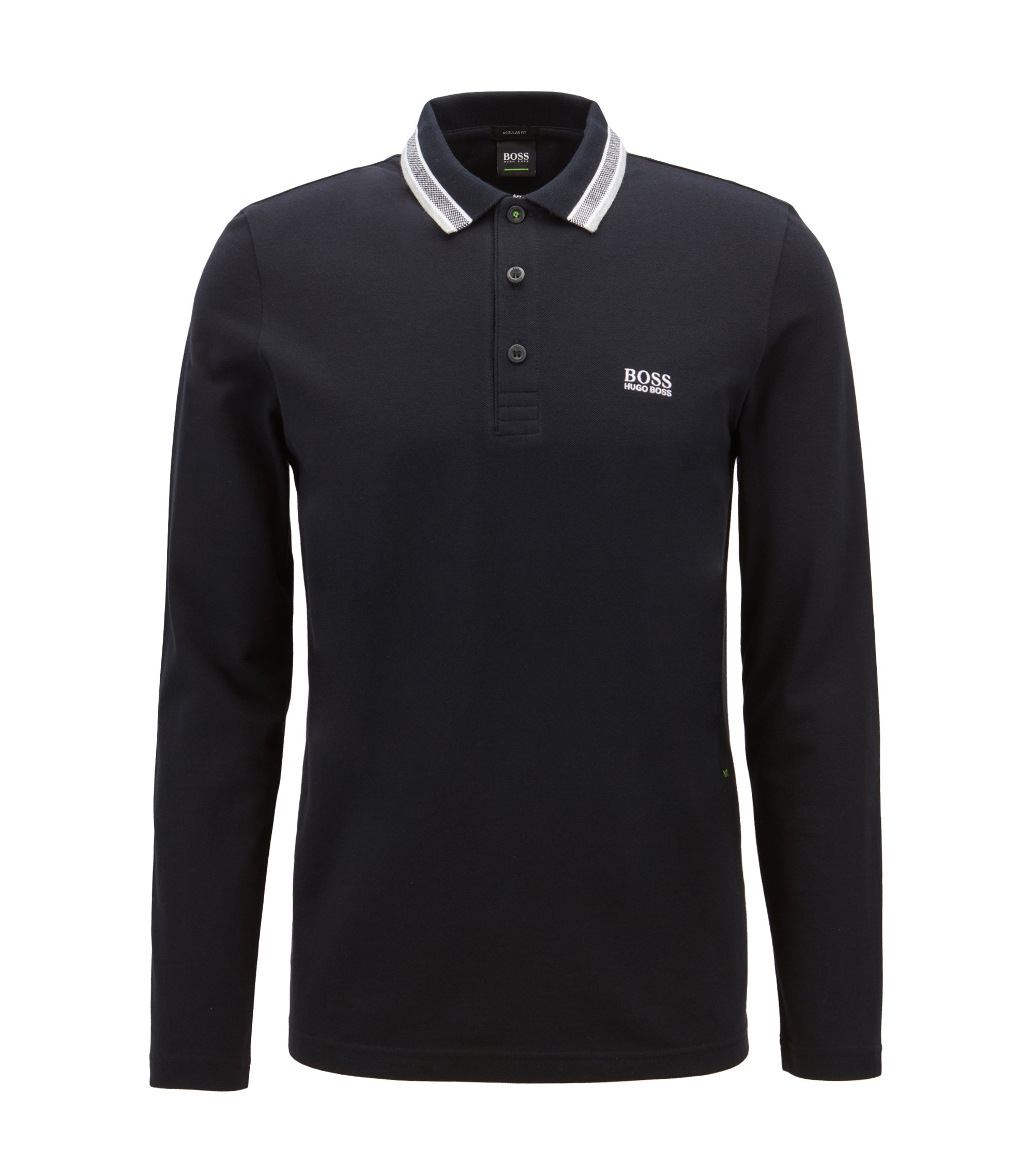 Regular-fit polo in piqué cotton, Black