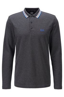 Regular-fit polo in piqué cotton, Dark Grey