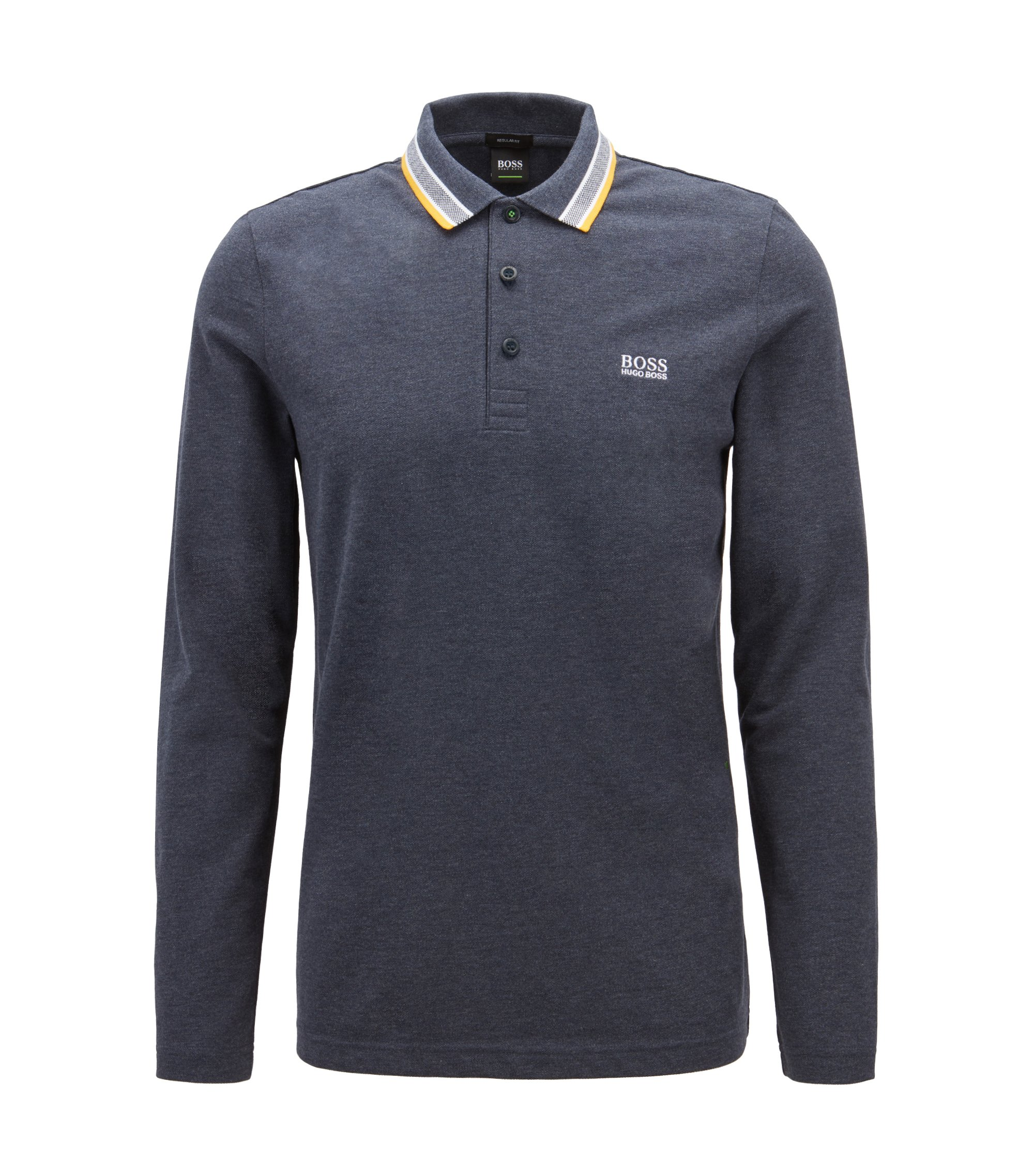 Regular-fit polo in piqué cotton, Dark Blue