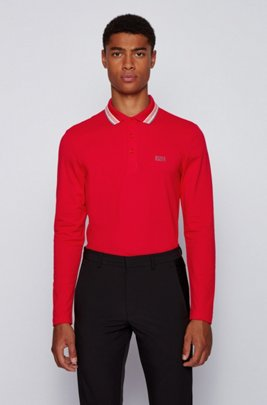 Regular-fit polo in piqué cotton, Red
