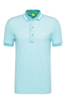 'Paule' | Slim Fit, Cotton Polo Shirt, Open Blue