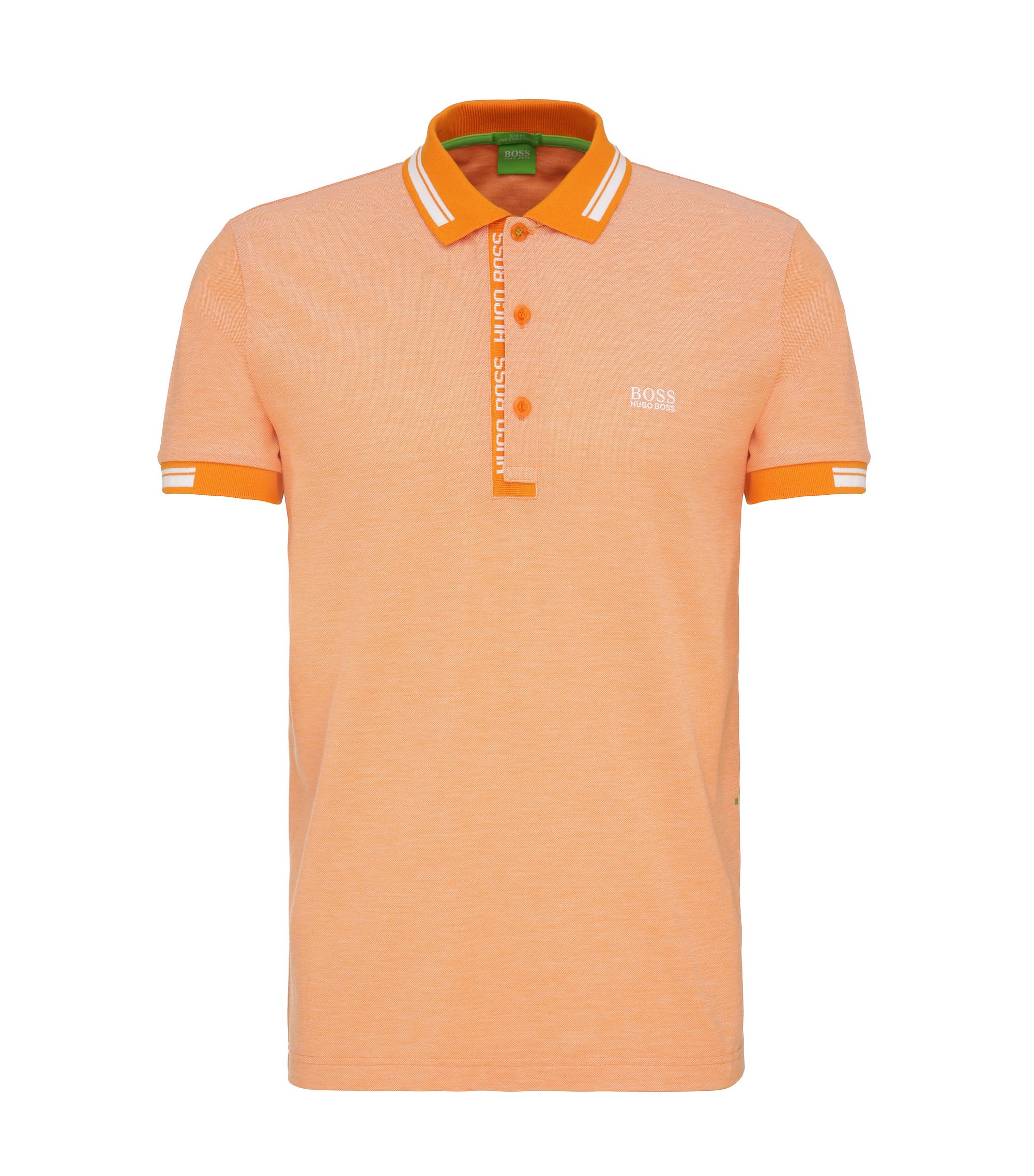 Cotton Polo Shirt, Slim Fit | Paule, Open Orange