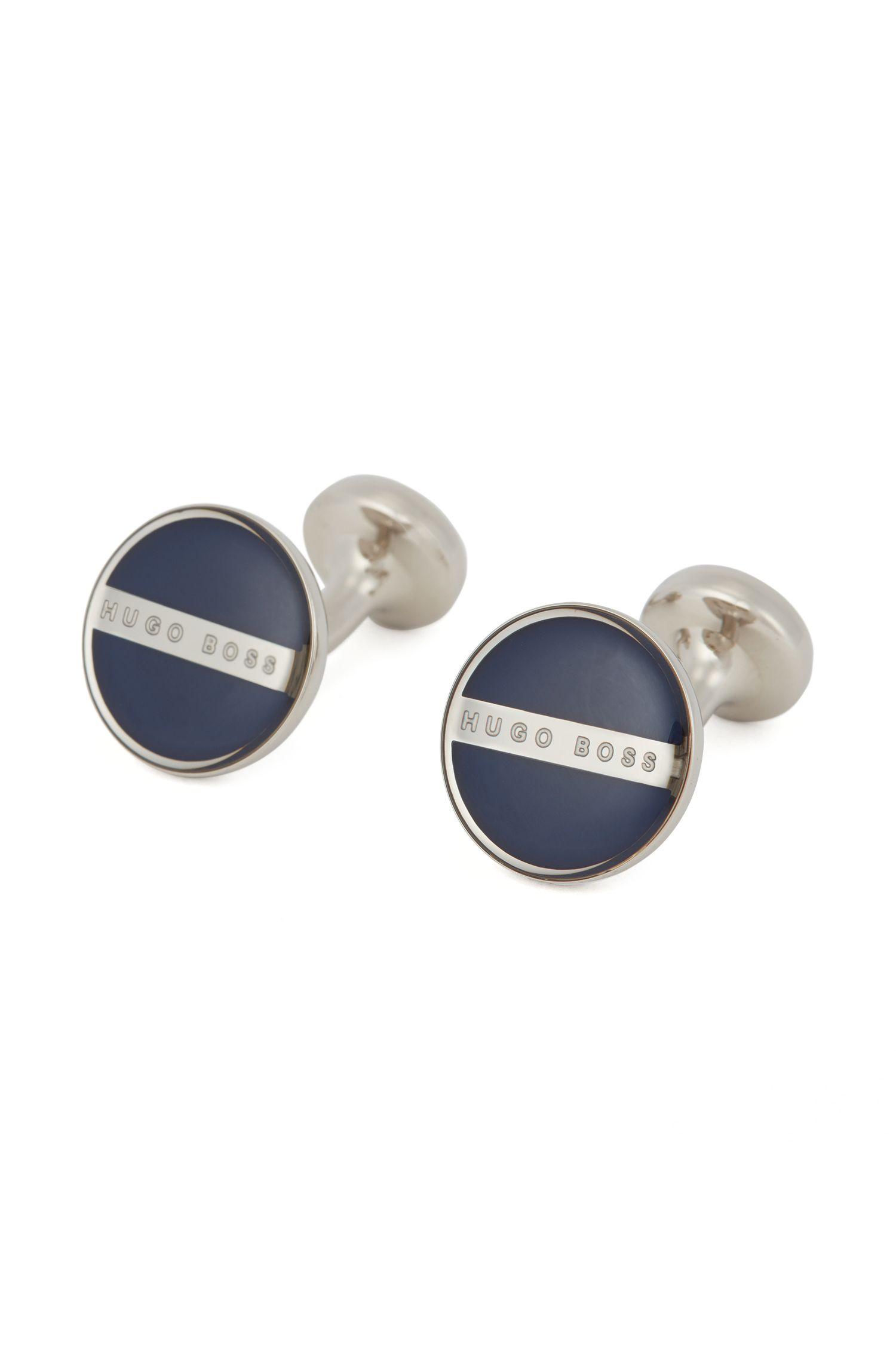 Brass and Enamel Round Cufflinks  | Norberto, Dark Blue