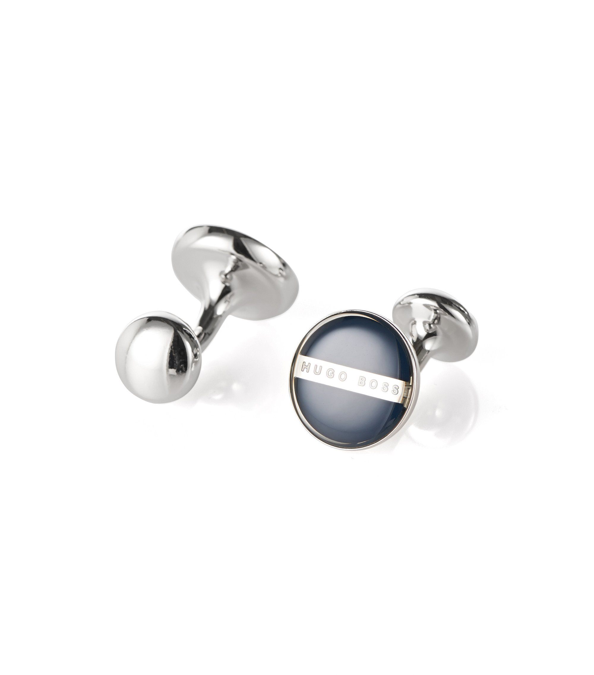 Brass and Enamel Round Cufflinks  | Norberto, Dark Blue