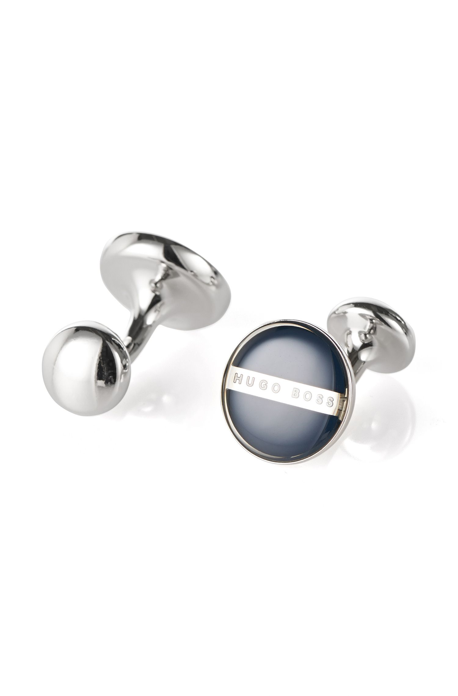 Brass and Enamel Round Cufflinks  | Norberto
