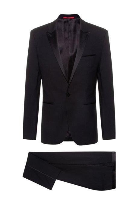Stretch Virgin Wool Tuxedo, Slim Fit | Aylor/Herys, Black