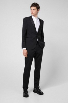 Extra-slim-fit evening suit in stretch virgin wool, Black