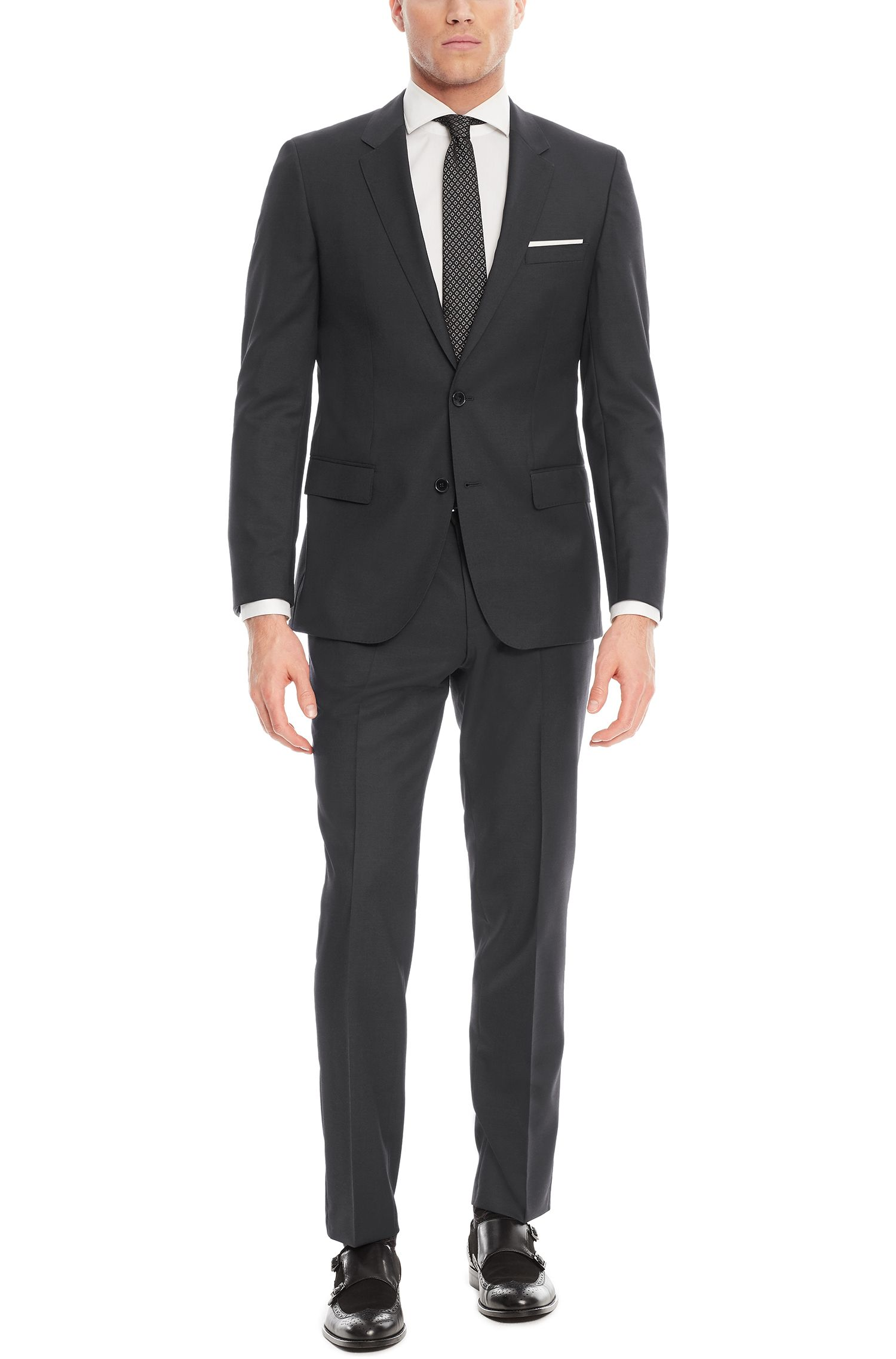 Virgin Wool Suit, Slim Fit | Huge/Genius, Dark Grey