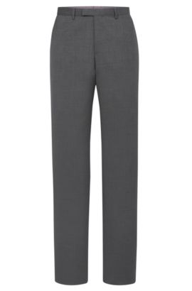 'Sharp' | Regular Fit, Virgin Wool Dress Pants, Open Grey
