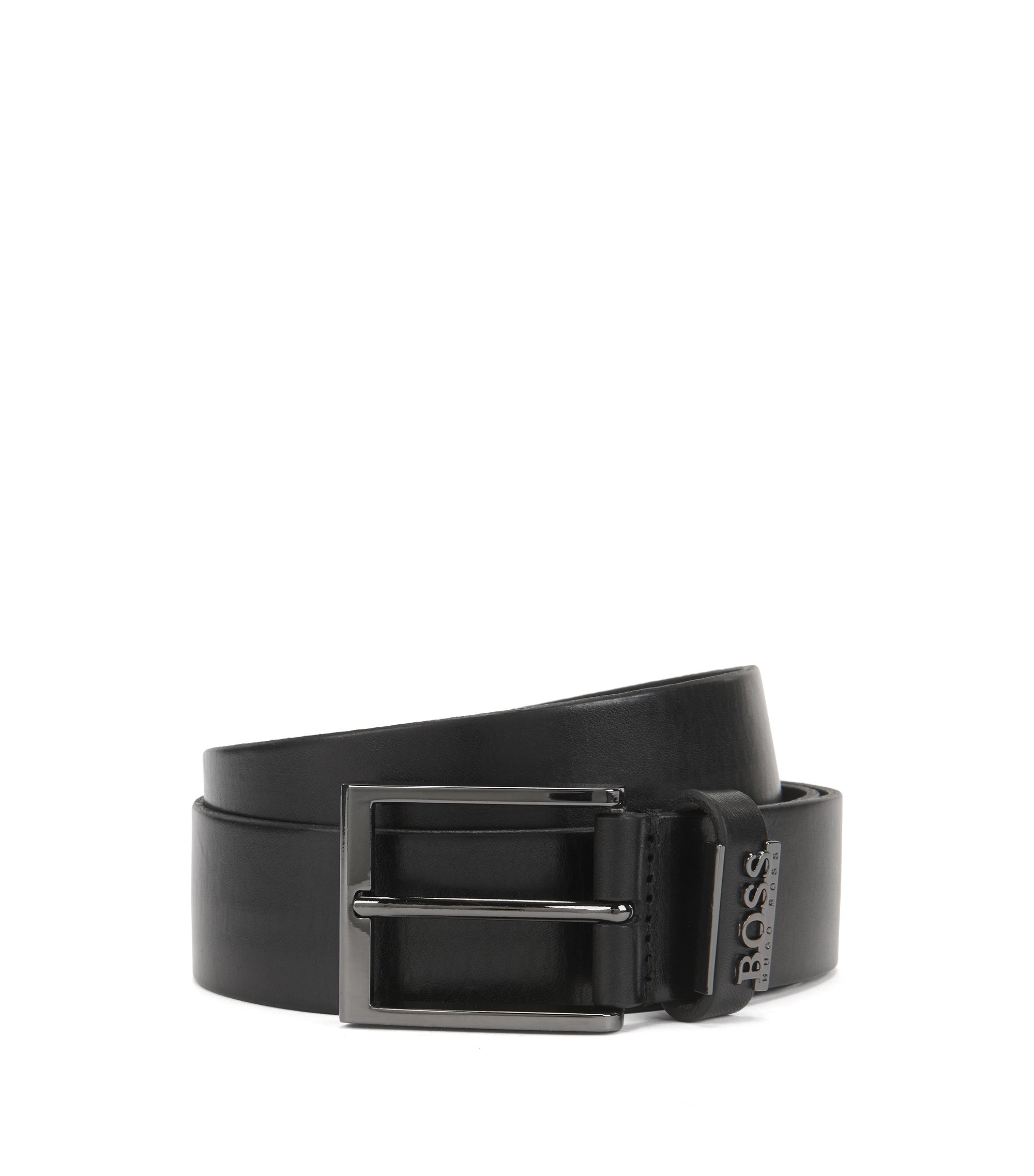 Leather Belt with Metal Logo | Senol, Black