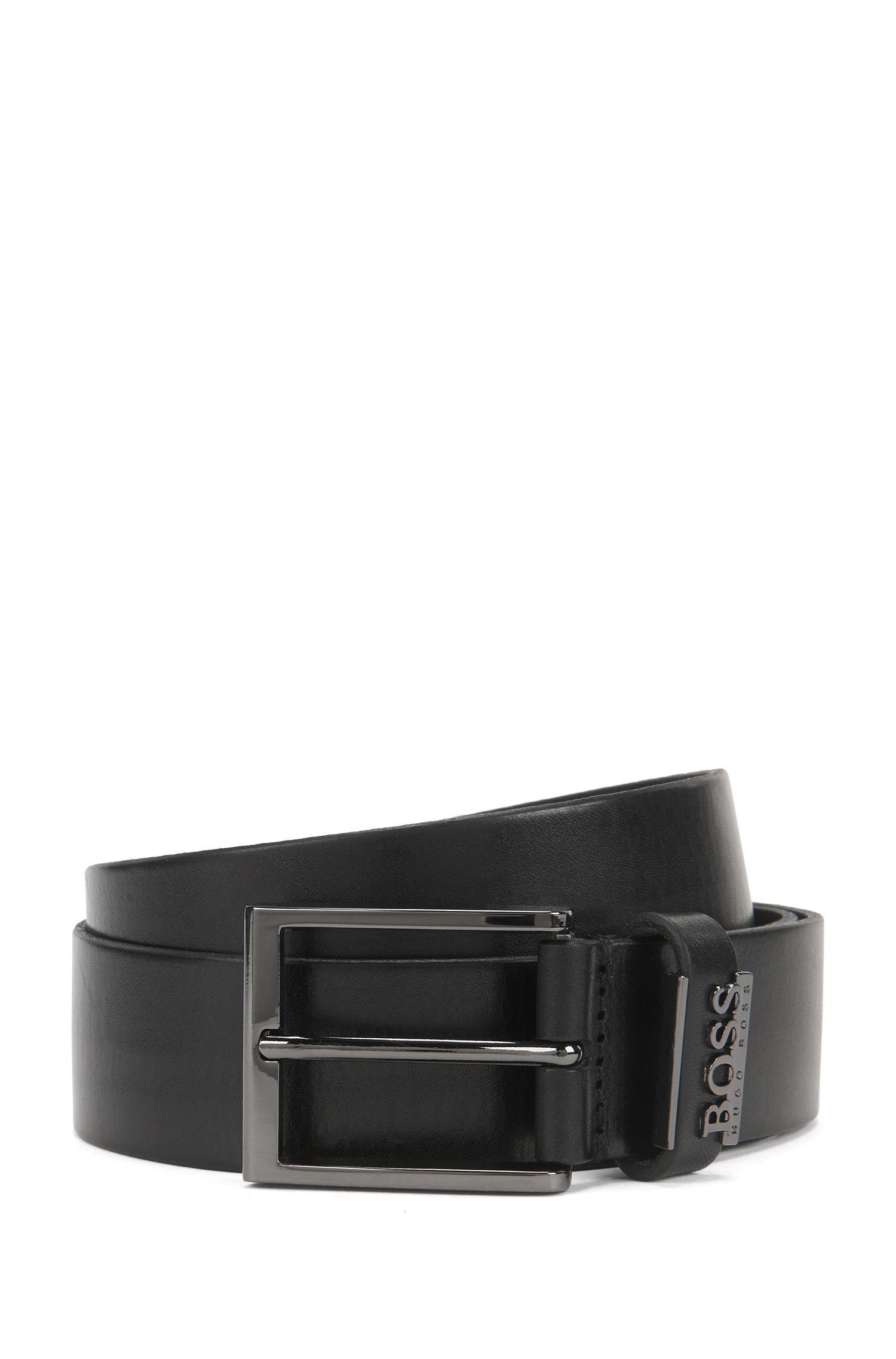 Leather Belt with Metal Logo | Senol