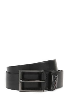 Leather Belt with Metal Logo | Senol, Black