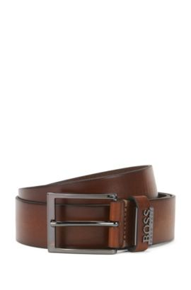 'Senol' | Leather Belt with Metal Logo , Brown