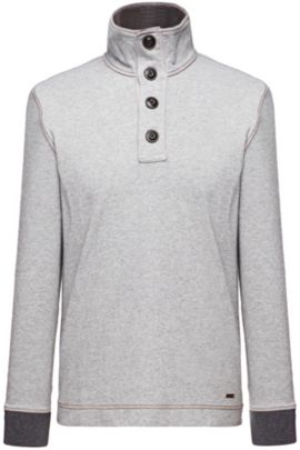 'Whoosh' | Cotton Troyer Collar Sweatshirt, Silver