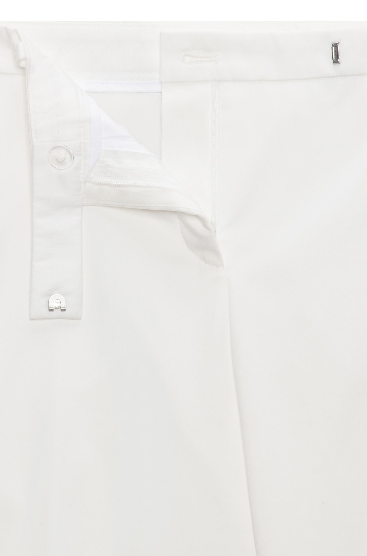 'Harile' | Stretch Cotton Low Waist Trousers, Natural