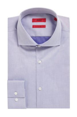 'C-Jason' | Slim Fit, Easy-Iron Cotton Poplin Shirt, Purple