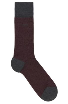'Paul Design Dots US' | Stretch Mercerized Cotton Blend Socks, Dark Red