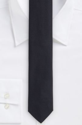 Nailhead Italian Silk Slim Tie, Black