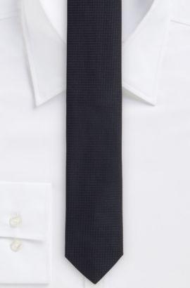 'Tie 6 cm' | Slim, Silk Textured Tie , Black