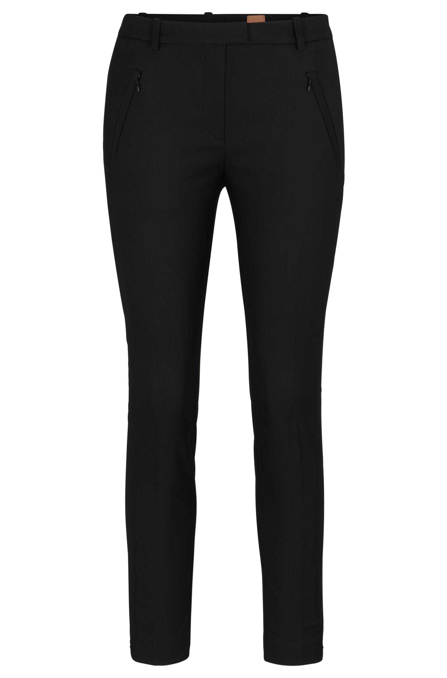 Stretch Cotton Zip Pocket Pant | Anaita, Black