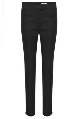 'Anaita' | Stretch Cotton Zip Pocket Trousers, Black